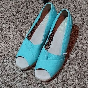Toms Peep Toe Wedges.